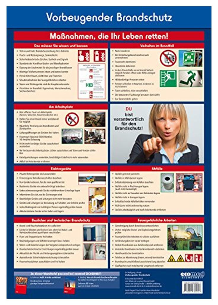 """Vorbeugender Brandschutz - Maßnahmen, die Ihr Leben retten! Aber leider geraten die Regeln und Vorgaben des Vorbeugenden Brandschutzes im betrieblichen Alltag leicht aus dem Blickfeld. Diese Wandtafel erinnert - geschickt platziert - alle Mitarbeiter an die Brandschutzordnung und die damit verbundenen Aufgaben. So wird gezeigt, dass jeder für den Brandschutz mitverantwortlich ist und wie im Ernstfall mit einem Brand umzugehen ist.Kurze Texte, eindrucksvolle Fotos und übersichtliche Infokästen machen diese Wandtafel zu einem echten """"Hingucker"""".Die Wandtafel (mit Aufhänger) dient als Lehrmaterial."""